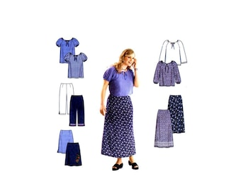 Womens Top Pants Skirt Simplicity 9193 Sewing Pattern Full Figure Size 18 - 20 - 22 - 24 Bust 40 - 42 - 44 - 46 UNCUT