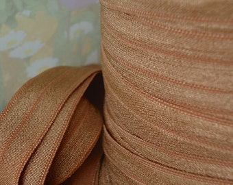 5yds Elastic Fold Over Trim for HeadBands Ponytail Hair plain foe 5/8 inch 15mm Brown Stretch Ribbon CB6