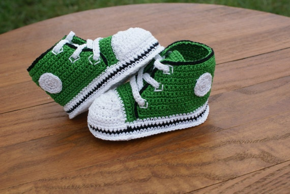 Green with Black Trim Crochet Baby Converse Inspired Shoes