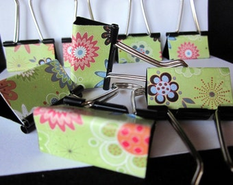 "Binder Clips - ""Green Abstract"" 12 medium binder clips"