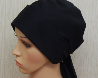 Black Cancer Cap, Cotton Chemo Head Covering, Hair Loss Headscarf, Cotton Chemo Headwear, Black Surgical Scrub Hat