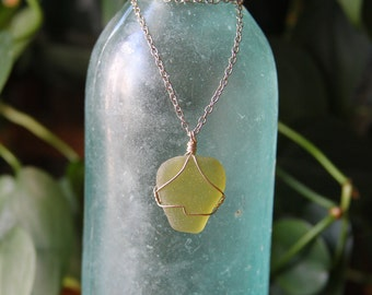 Green Seaglass Sterling Silver Necklace