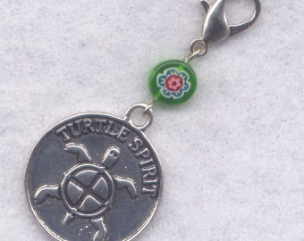 Turtle Spirit Stitch Marker Clip Turtles Milefiori Flowers Single /SM215