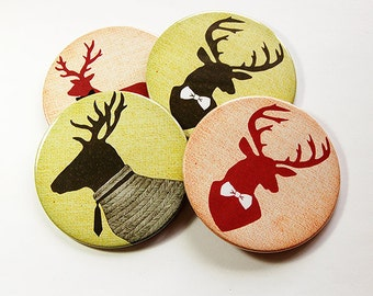 Drink Coasters, Deer Coasters, Coasters, Hostess Gift, Tableware, Barware, Rustic Decor, Hunting Lodge Decor, Gift for Hunter, Deer (5096)