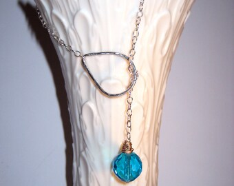 Sterling Silver Drop Necklace with Ocean Blue Briolette