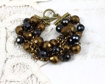 Vintage Assemblage MultiStrand Bronze and Black Chunky Bracelet, Mixed Metal Assemblage Statement Bracelet, Vintage Beaded Bracelet