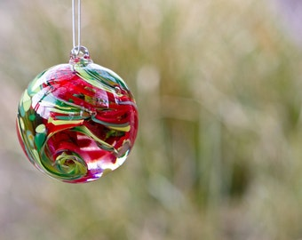 Perfect Dog Memorial Ornament - Rope Glasss Orb - Glass Garden Art - Sympathy Gift - Ashes Into Glass - Cremation Glass