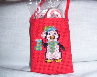 Cross Stitch Penguin Hanger Pouch With Candy Canes
