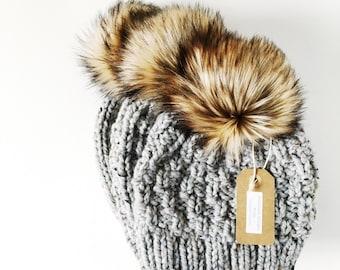 Ready to Ship   Chunky Hand Knit Beanie   the SAVANNAH WATCHMAN CAP   Grey & Golden Wolf
