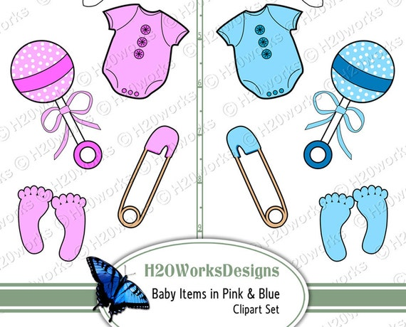 baby items clipart set pink blue baby girl boy clip art rh etsy com baby items clip art printable free baby boy items clipart