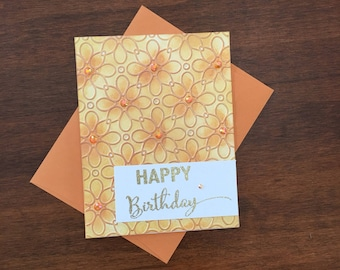 embossed happy birthday card handmade