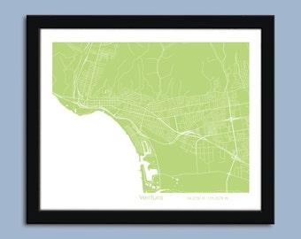 Ventura map, Ventura city art map, Ventura wall art poster, Ventura decorative map