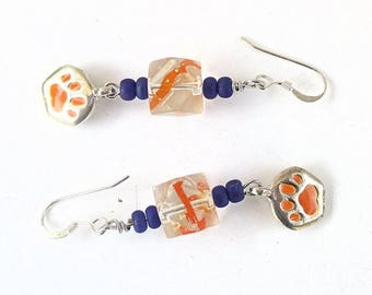 Paw Earrings, 925 Silver Filled Earrings, Orange and Purple Earrings, Funky Earrings, Purple and Orange Jewelry, Gift for Her 2-1/4in