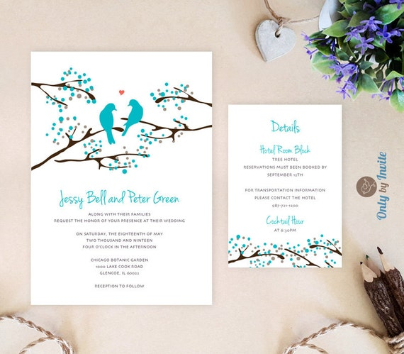 Turquoise Wedding Invitation And Info Card Love Bird Wedding