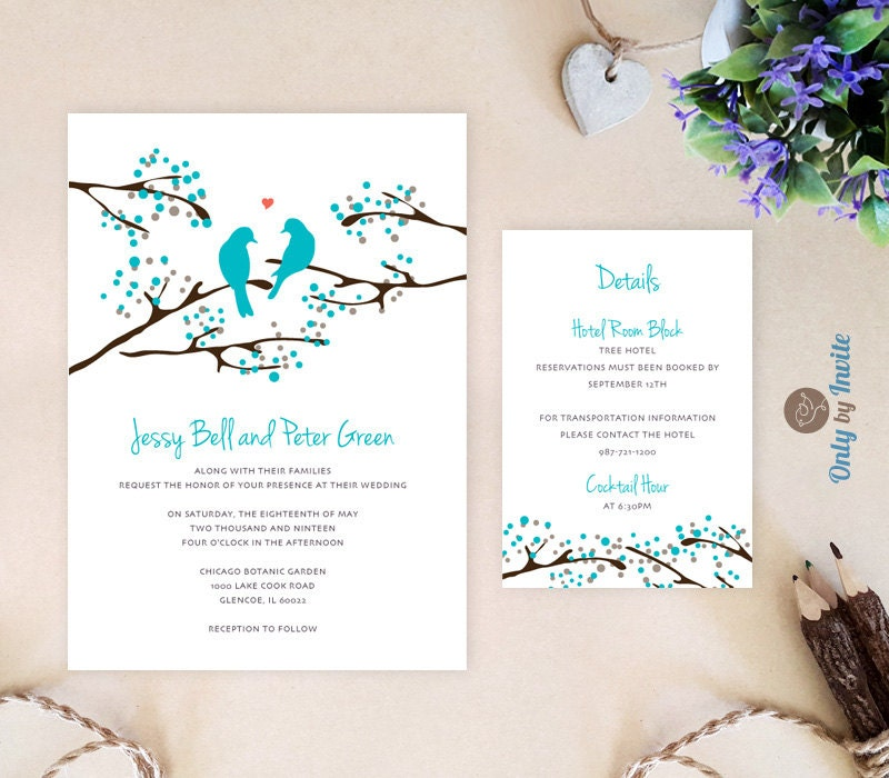 Turquoise Wedding Invitation and info card Love bird wedding