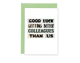 Coworker goodbye etsy funny new job card coworker leaving good luck new job congrats new job thecheapjerseys Gallery