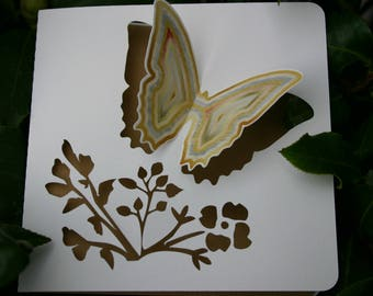 Double - cut Butterfly - ivory inset buff - any occasion card