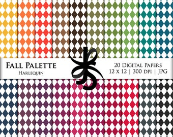 Digital Scrapbook Papers-Fall Palette Harlequin-Diamond Patterns-Preppy Papers-Fall Clipart-Wallpapers-Backgrounds-Instant Download Clip Art