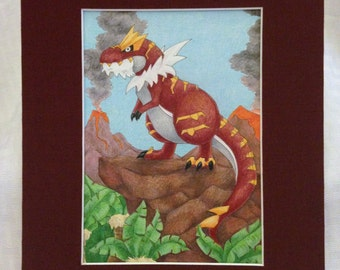 "Tyrantrum Original Fan Art- Pre-matted to 8""x10"""
