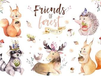 Watercolor nursery animals clipart. Forest kids wodland set. Boho  cute animals: bohemian fox, bear, deer, rabbit and owl. Baby  poster