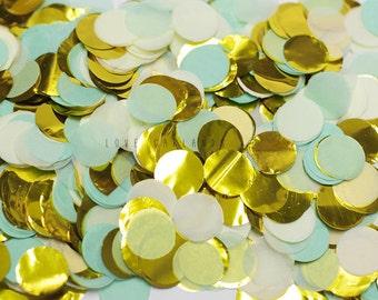 Mint Ivory Gold Round Confetti, Mint Ivory Gold Circle Confetti, Mint Confetti, Wedding Confetti, Bridal Shower Confetti, Balloon Confetti