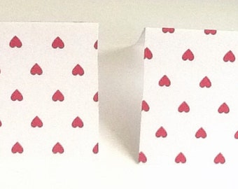 9 Red Heart Mini Note Card