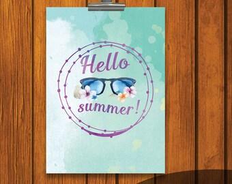 Hello Summer Print / 5x7 print / Watercolor Print / Purple / Blue / Summer / Instant download / Sunglasses / Flowers