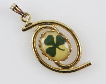 Vintage Shamrock Necklcace Pendant - Gold Tone Metal with Glass Cabochon Clover Design
