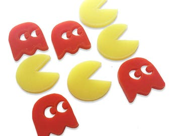 8 laser cut Pacman & Ghost cabochons, choose colour and acrylic type! 20mm