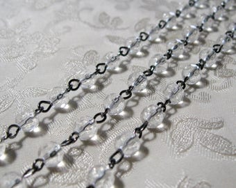 "Rosary Chain Clear Round Faceted Glass One Meter 39.5"" Faceted 6mm Beaded Gunmetal Silver 986"