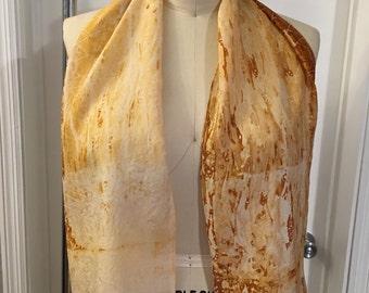 Rust Dyed Silk Scarf, Hand dyed scarf, 100% Silk scarf, Lightweight Scarf