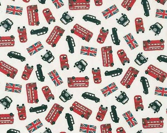 London Fabric, London Scatter Bus White Cotton Fabric by Makower from their new London Collection