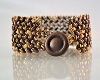 Earthtones Herringbone Cuff Bracelet