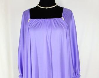 Claire Sandra by Lucie Ann Purple NOS Rhinestone Caftan Nightgown