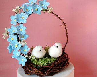 forget me not cake topper bird nest woodland garden wedding -MADE TO ORDER