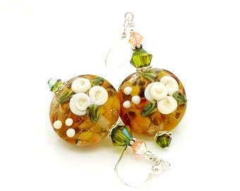 Peach Floral Earrings, Lampwork Earrings, Glass Earrings, Glass Bead Earrings, Glass Flower Earrings, Beadwork Earrings, Floral Earrings