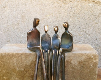 Family of Four | Cast Bronze Family Portrait | Gifts for Her | Loving Figurines | Handmade | Contemporary Art | Made in Santa Fe