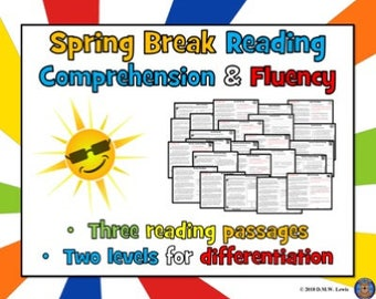 4 Spring Break Fun Reading Comprehension Paired Passages: Fun Reading Passages for Kids!
