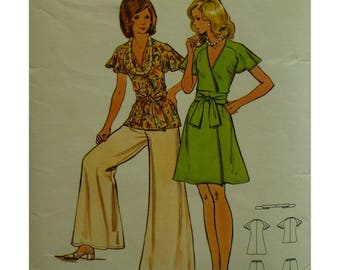 "Wrap Dress and Top Pattern, Wide Leg Pants, V-neck, Raglan Sleeves, Short, Tie Sash, 1970s, Butterick 3157 Size 8 (Bust 31.5"" 80cm)"