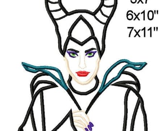 Halloween Villain Evil Fairy Machine Applique Design Embroidery Pattern 5x7 6x10 7x11 INSTANT DOWNLOAD