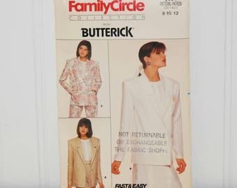 Vintage Butterick 3691 Family Circle Collection Unlined Jacket (c. 1986) Misses' Sizes 8-12, Business Attire, Fast & Easy Sewing, Retro