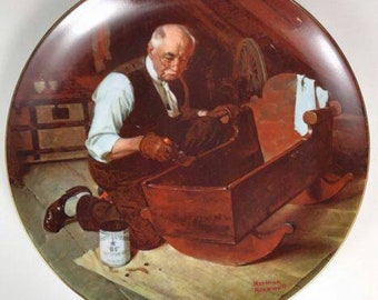 """Norman Rockwell Golden Moments First Edition Plate """"Grandpa's Gift"""""""