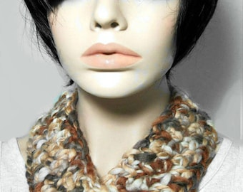 Chunky crochet cowl, boho neck warmer, brown earthy boho fashion, 100% merino wool