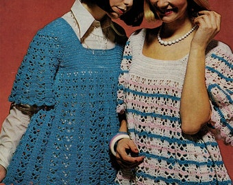 Vintage crochet pattern smock top blouse top pdf INSTANT download pattern only pdf cover up