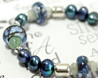 Gemstone Aquamarine Blue Bracelet, Lamp Work Glass and Pearl Silver Blue Bracelet, Shades of Blue Handmade Bracelet