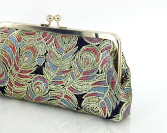 Peacock Brocade Clutch Bag Red Black Blue and Metallic Gold  8-inches BROCADE etsygift