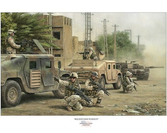 """OIF 2004-2005 US Army signed and numbered print """"Relentless Pursuit"""" by Jody Harmon"""