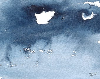 """Day 31, Original Abstract Waterscape Painting, Watercolour, Indigo Blue, 3"""" X  5"""""""