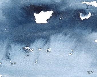 Jour 31, Original Abstract aquatiques peinture, aquarelle, bleu Indigo, 3 po X 5 po.