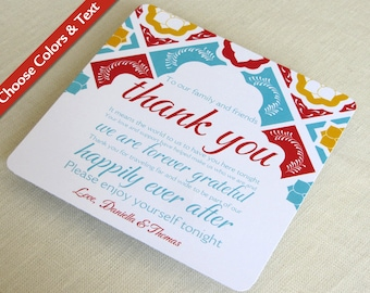 Mexican Tile Wedding Thank You Card - Talavera Tile Reception - Mexico Destination - Custom Colors - Custom Wording